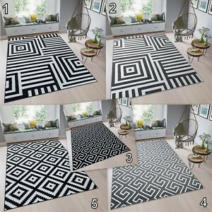 Modern-Multi-Coloured-Rug-Large-Black-White-Grey-High-Quality-Carpet-Soft-Pile