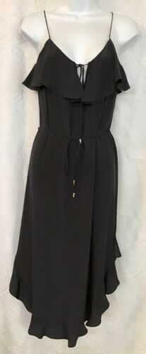 Zimmerman Black Silk Dress Spaghetti Straps Draw S
