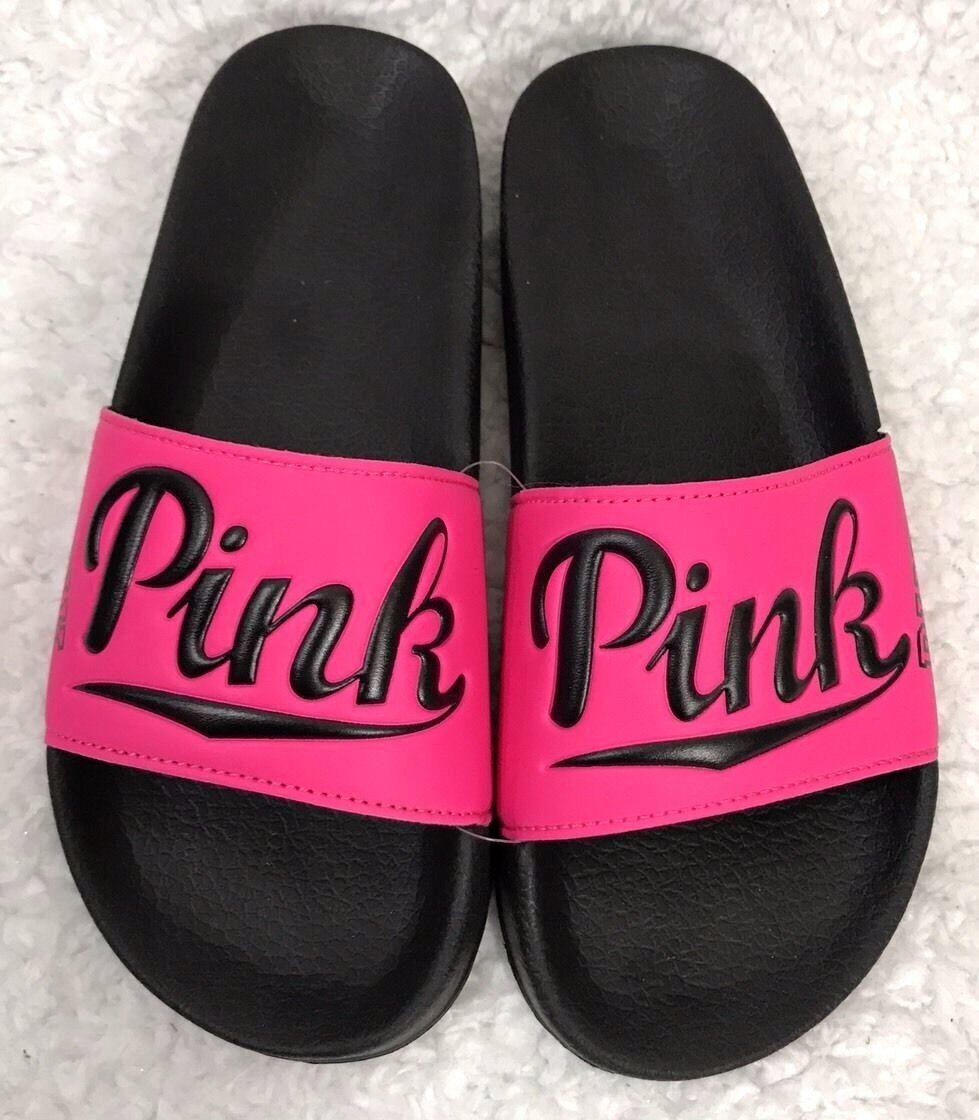 Victoria's Secret Hot Pink NATION Slides Flip Flops Sandales - Größe Small