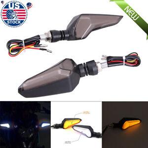 2x Universal Motorcycle Bike Amber LED Turn Signals Indicator Blinker Light New