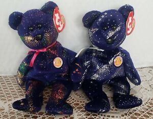Ty Beanie Baby COMET & ASTRA the Bears  BBOM)(8.5 Inch) New With Tag