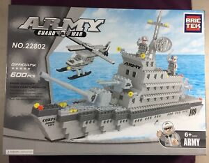Bric-Tek-Brictek-Army-Navy-Large-Cruise-War-Ship-1276-Pcs-22110-New-Never-Built