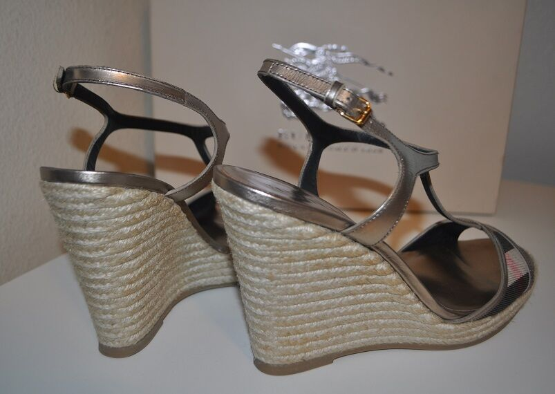 NIB BURBERRY Platfrom LEEHAM Check Wedge Espadrille Sandal Shoe Check LEEHAM Plaid T Strap 10 708489