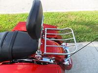 Detachable Backrest Luggage Rack Harley Touring 2014 Up With 4pt Docking Chrome
