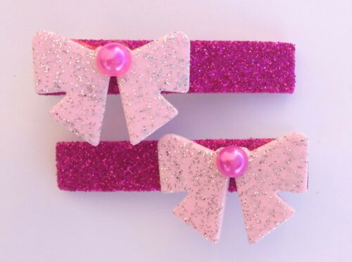 Christmas Hair Bows Pair of Glitter Bow /& Pearl Red Pink Gold Alligator Clips