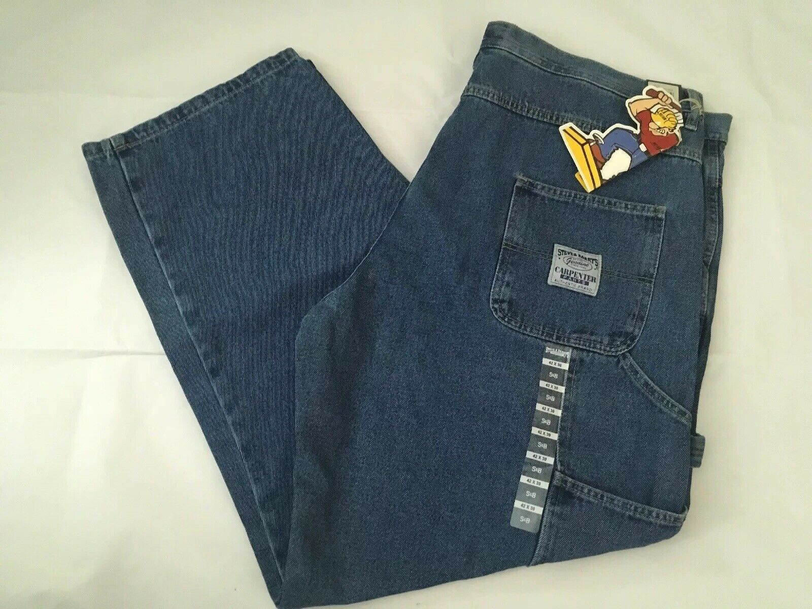 NWT Vintage 1990's Men's Steve & Barry's Carpenter Jean Pants, Size 42x30