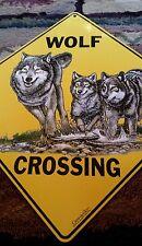 Wolf Crossing Metal Sign Northwoods Yellowsone Wildlife Environmental Awareness