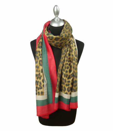 Designer Inspired Large Leopard print with stripe Scarf Various colours