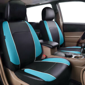 Universal-2-Front-Car-Seat-Covers-Blue-Leather-Mesh-Airbag-Breathable-for-Truck