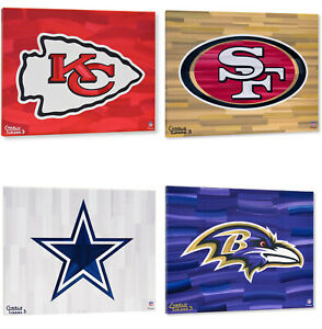 "NFL Teams 16"" x 20"" Logo with Background Gallery Wrapped Embellished Giclee"