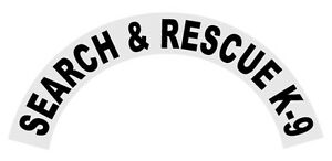 Search /& Rescue White on Black Helmet Crescent Reflective Decal Sticker