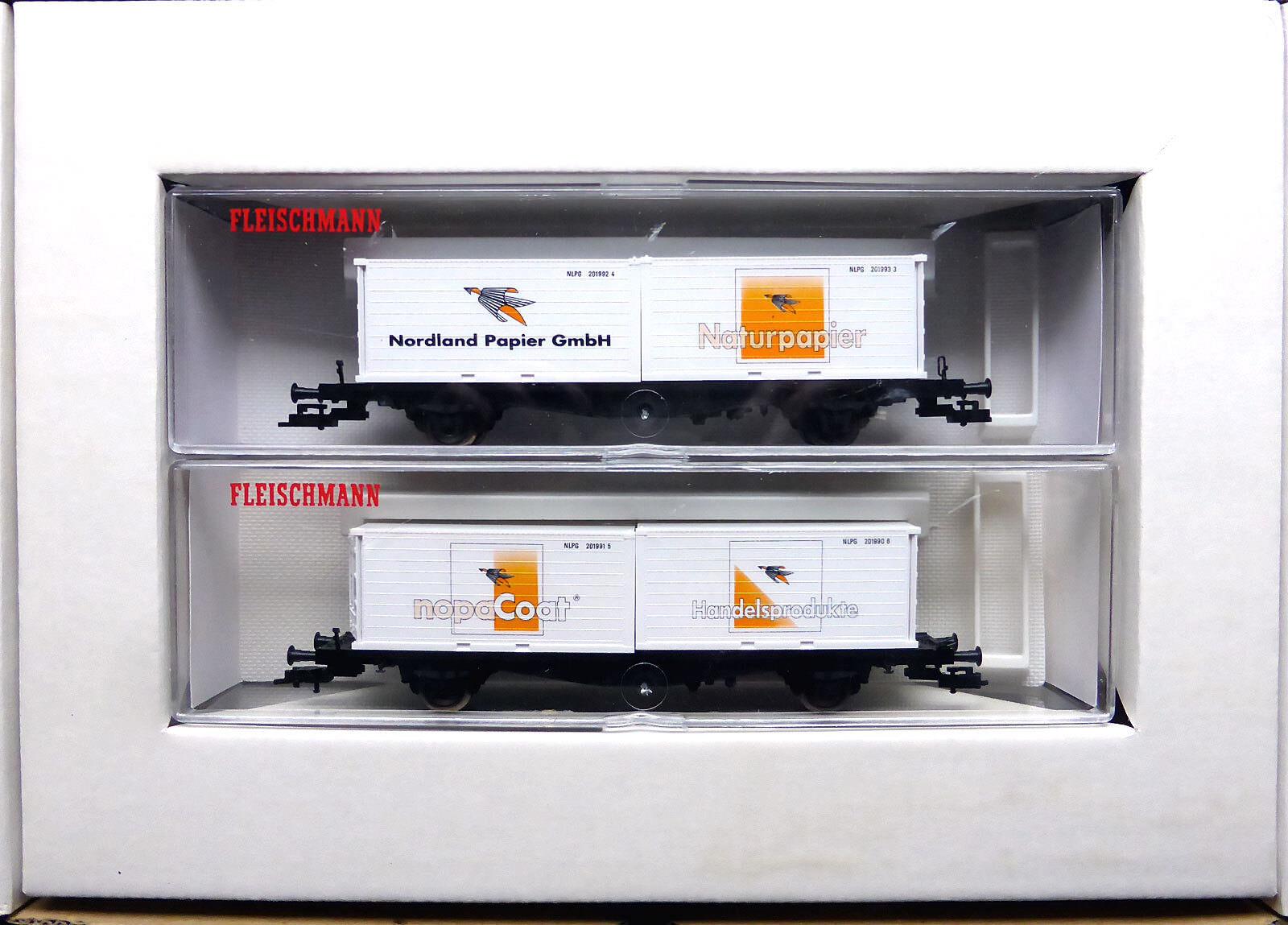 Fleischmann; carro contenitore-Set  paese del nord carta , mattoncini in scatola originale/d139