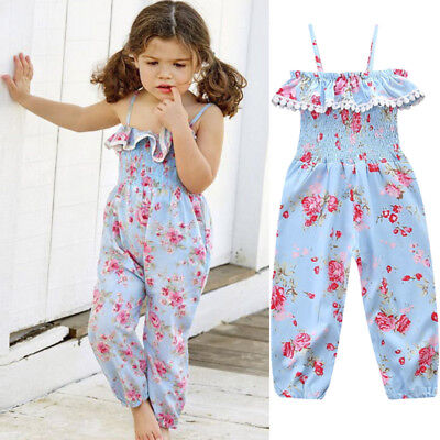 Kids Baby Girl Summer Solid Ruffle Romper Jumpsuit Overalls Outfits Sunsuit 1-6Y