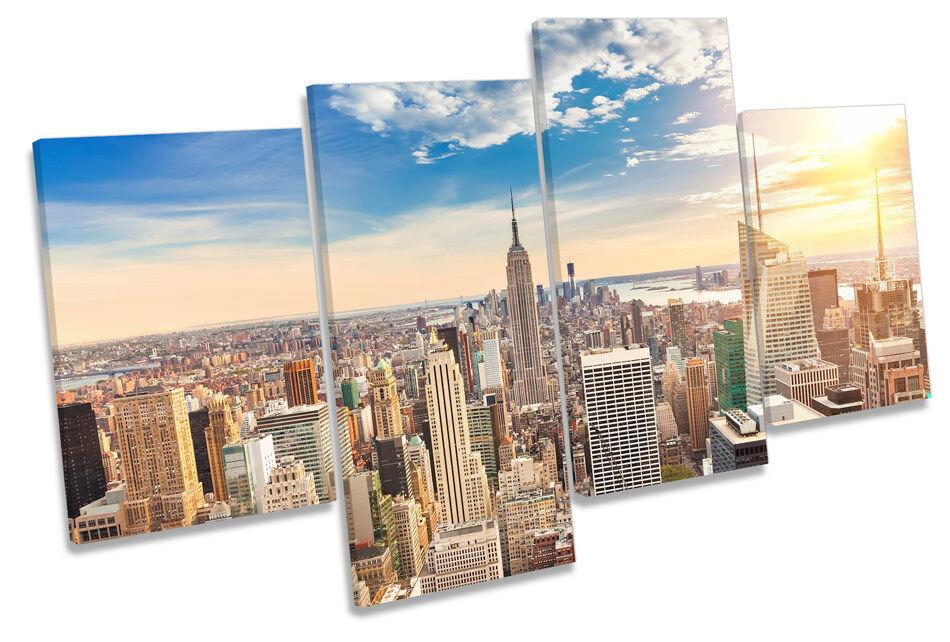 Ciudad de Nueva York tela Moderno Multi tela York pared arte En Caja Enmarcado 32773a