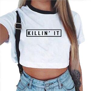 Mujer-Verano-Camiseta-Manga-Corta-Tirantes-Blusa-Entallado-Tops-ropa-deportiva