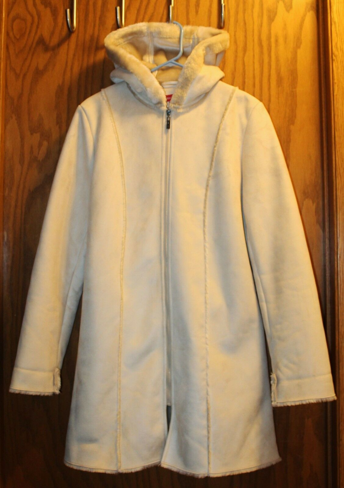 3 4 Winter Coat Faux Suede Fur w  hood Medium Gorgeous Womens Gloria Vanderbilt