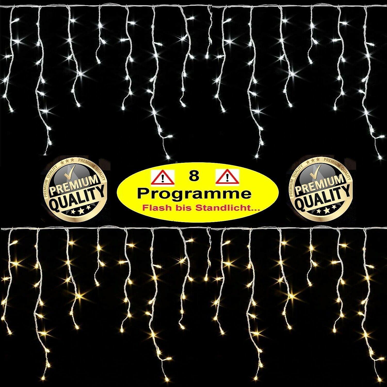 600   400 LED PREMIUM EISREGEN-LICHTERKETTEmit 8 PROGRAMME   Effekte 20m 15m