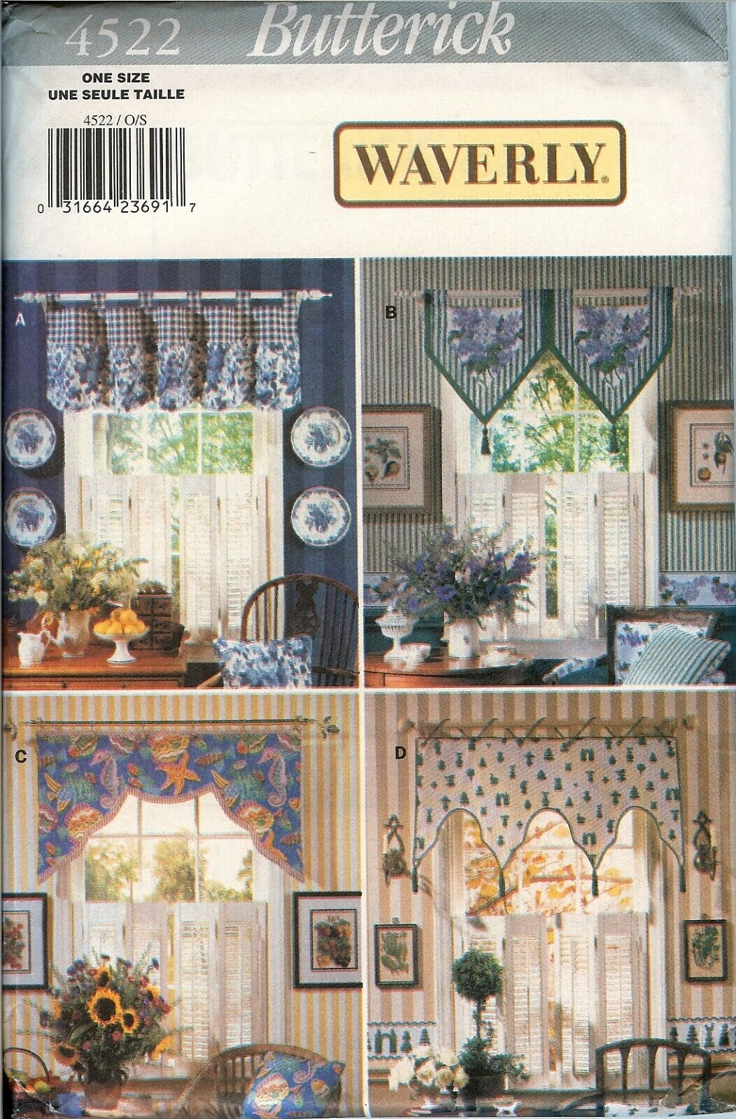 Butterick 4522 Kitchen Valances Waverly Window Treatments Pattern UNCUT FF NEW
