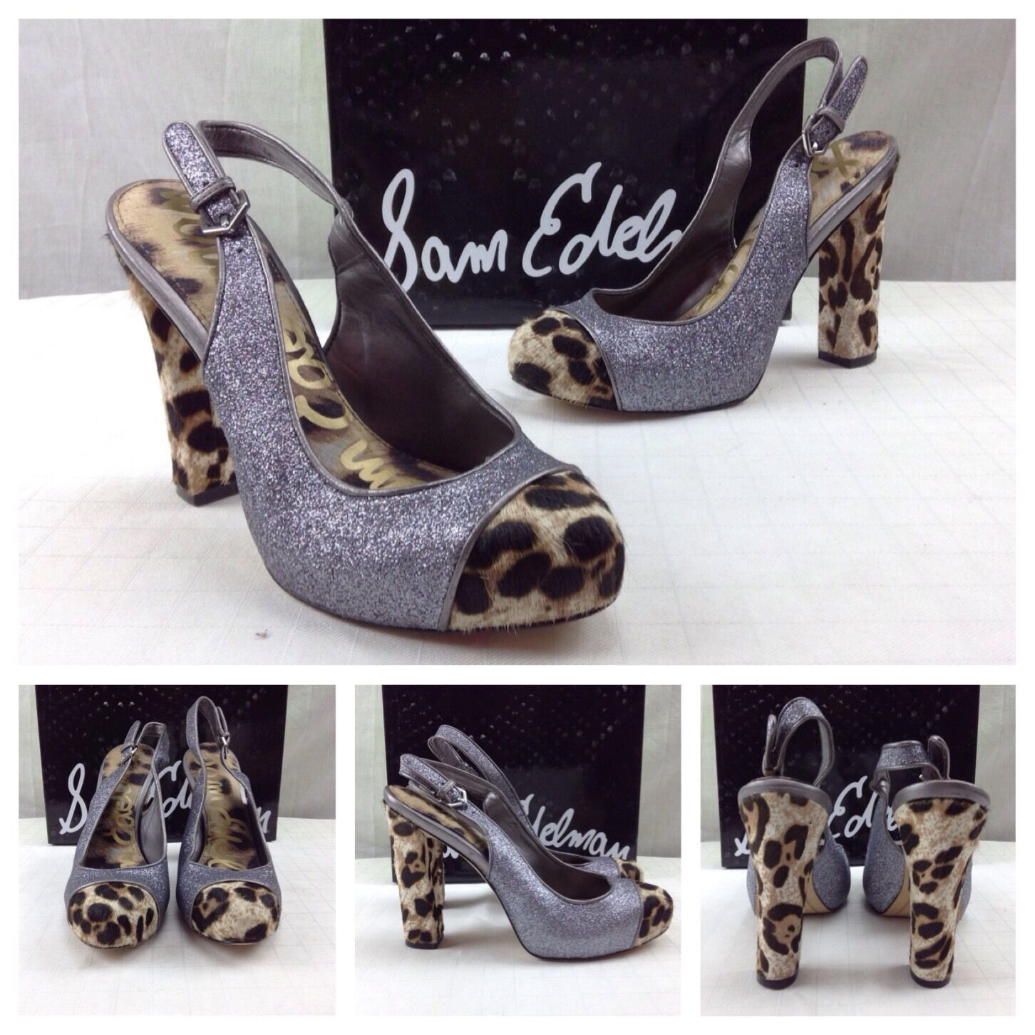 Sam Edelman New Jeffrey Silver Glitter Cheetah Calf Vince Pumps Heels 7.5  140