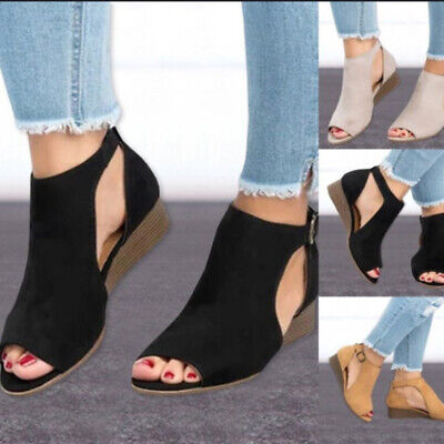 Female Wedge Sandals Lady Plus Size Suede Leather Sandals