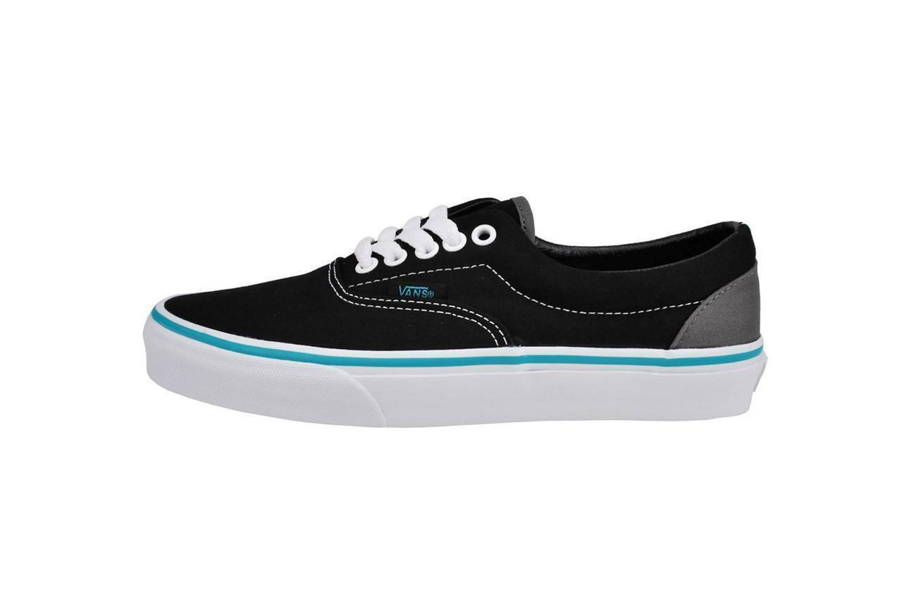 47475ff2268cde VANS Era Mens Pop Black Blue Curacao Canvas Skate Boat Casual Shoes ...