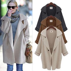 oversize damen winter revers strick cardigan sweater lang wolle jacke mantel top ebay. Black Bedroom Furniture Sets. Home Design Ideas