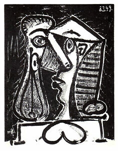 PABLO-PICASSO-LITHOGRAPH-w-COA-1950-Exclusive-print-COMPOSITION-HEAD-2-RARE-ART