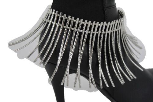 Fancy Women African Style Boot Bracelet Silver Metal Long Stud Anklet Shoe Charm