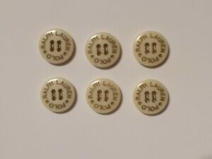 6-Vintage-Off-White-Plastic-Polo-Ralph-Lauren-Replacement-Buttons-Rare-17-mm