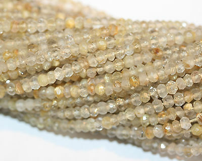 "14""  Fine Natural Gold Rutilated Quartz Faceted Rondelle Beads   Golden Rutile"