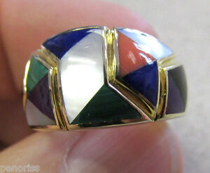 Beautiful 14k Gold Inlay Gemstone Ring size 6-1/2 Onyx,Mop, Lapis,Coral, etc.