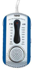 Naxa AM FM Compact Portable Radio Blue with Earbuds and Speaker USA Seller