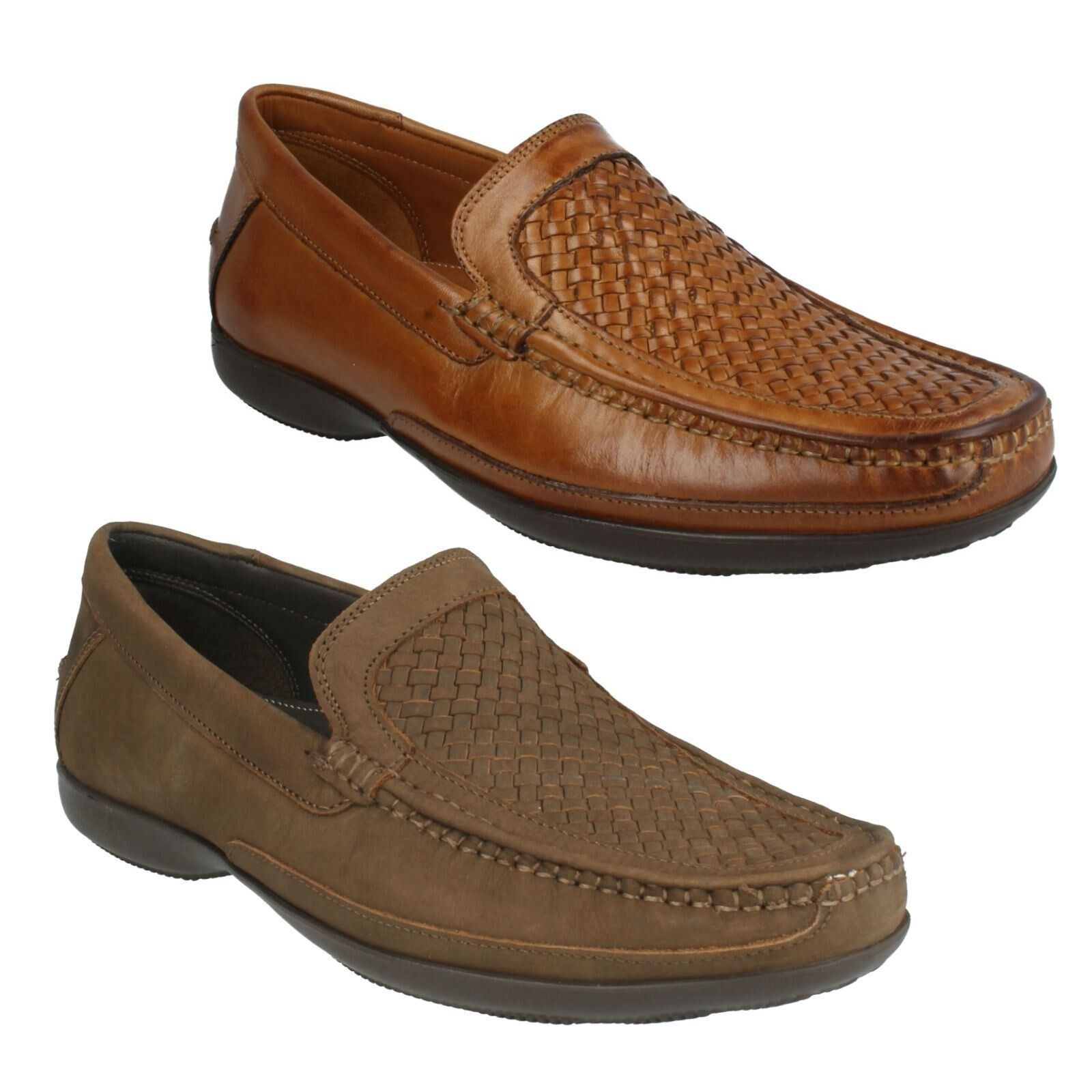 MENS CLARKS FINER WEAVE WOVEN LOAFERS NUBUCK SMART LEATHER SLIP ON FORMAL SMART NUBUCK SHOES aa2512