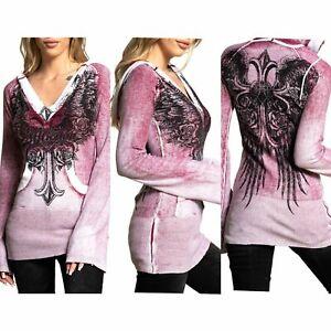 Affliction Women's Hoodie Sweat Shirt Top ALLISON Pink Wings Biker
