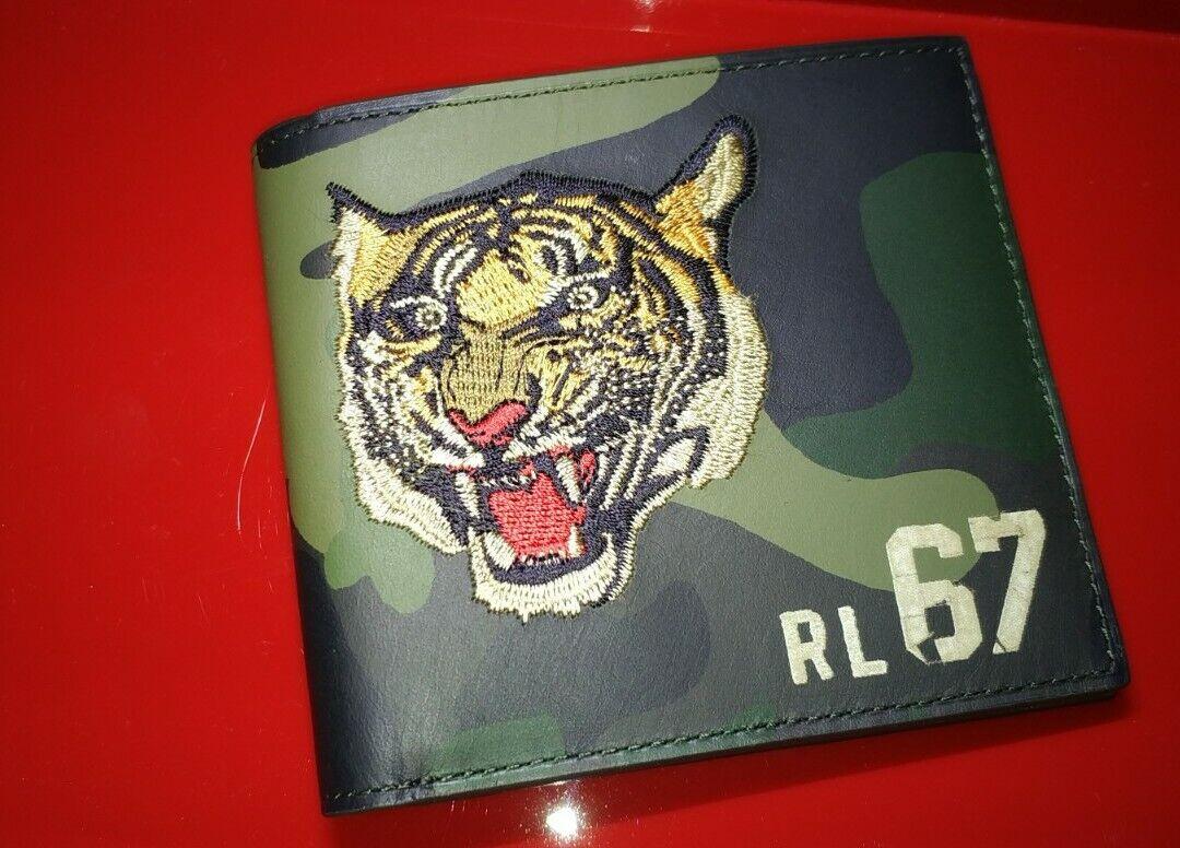 POLO RALPH LAUREN Men's Camo Tiger Leather Bifold Wallet