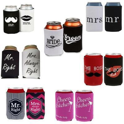 Bride Groom Neoprene Sleeve Beer Can Cooler Protection Holder Wedding Favor
