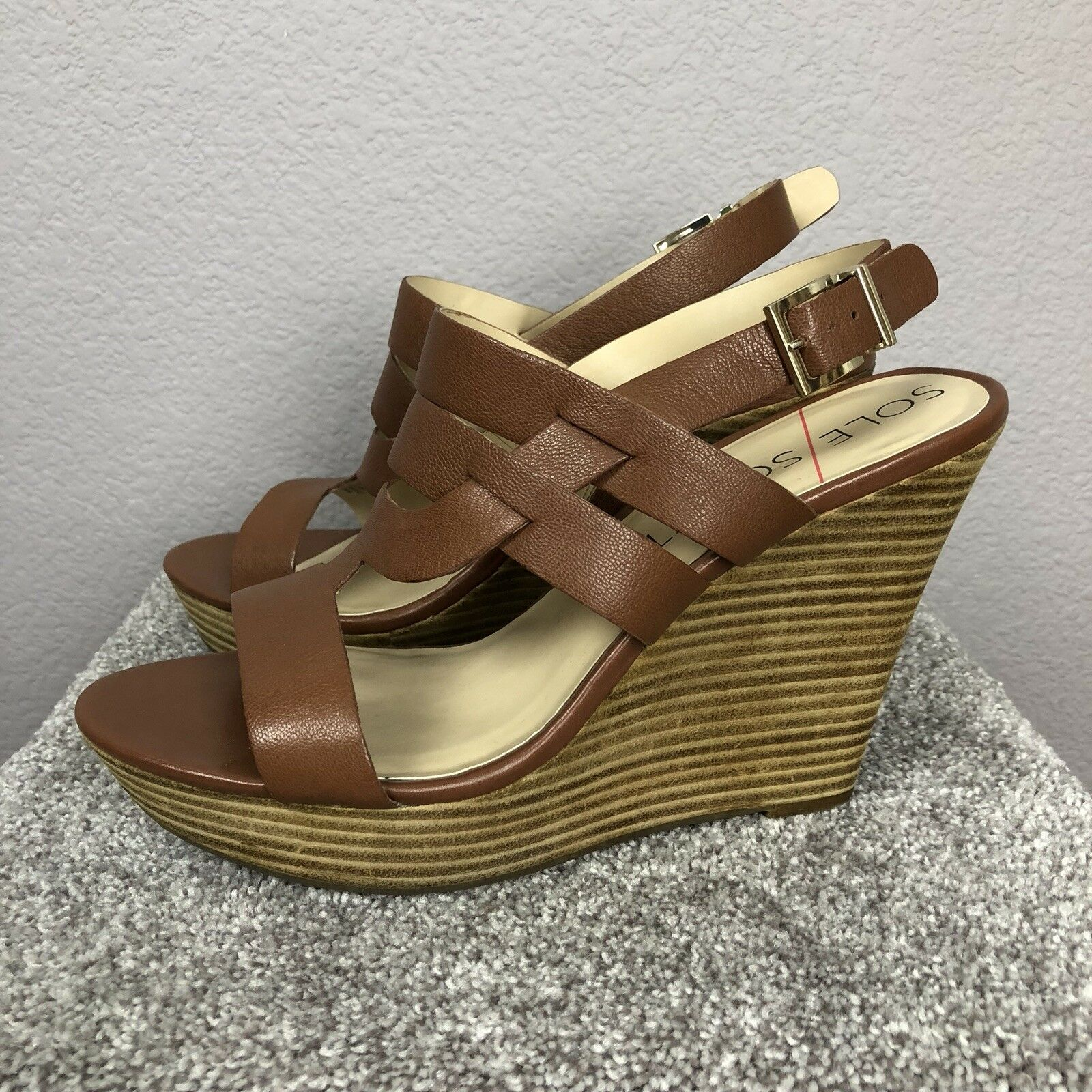 Sole Society Women's Platform Sandals Brown Leather Size 10M Casual Tall JENNY