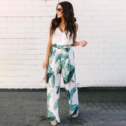 Women Wide Leg High Waist Summer Baggy Long Pants Loose Culottes Casual Trousers
