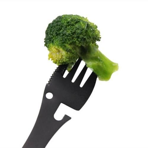 5 in 1 Titanium Fork Spoon Spork Cutlery Utensil Combo Kitchen Picnic Tools
