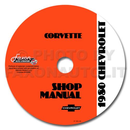 1980 Corvette Shop Manual CD Repair Service Book on CD-ROM Chevrolet Chevy