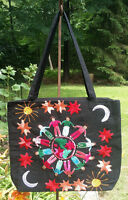 Maya Mexican Hand Embroidered Zipper Tote Bag Chiapas Rainbow Floral Sun Moon