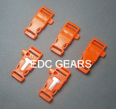 """5 pcs Fire Starter 3/4"""" Survival Flint Whistle Buckle Paracord Bracelet #Orange"""