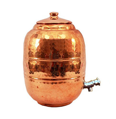 Pure Copper 6.5 ltr. Water Pot Storage Tank With Tap Kitchen Home Garden