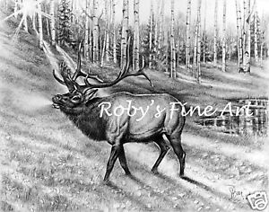 Bull-Elk-Art-Print-034-Bugle-Call-034-5x7-Giclee-by-Realism-Artist-Roby-Baer-PSA