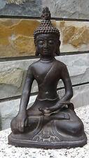 ANTIQUE 18C-19C ASIAN BRONZE STATUE OF BUDDHA IN ABHAYA MUDRA SHELL HAIR