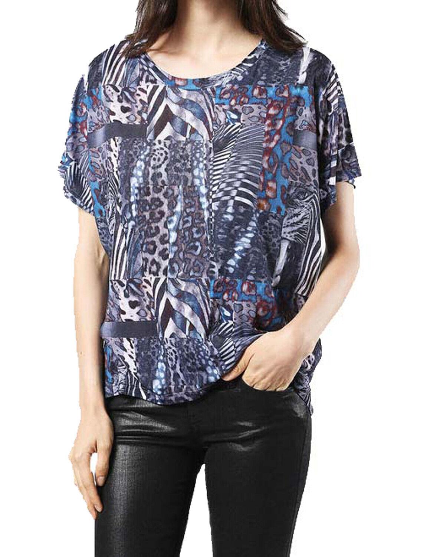 Diesel T-Hanna-Z Maglietta Damen Shirt Blau