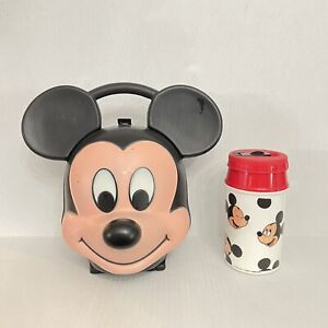 Vintage rare Disney Alladin industries  MICKEY MOUSE Head Lunch box With Thermos