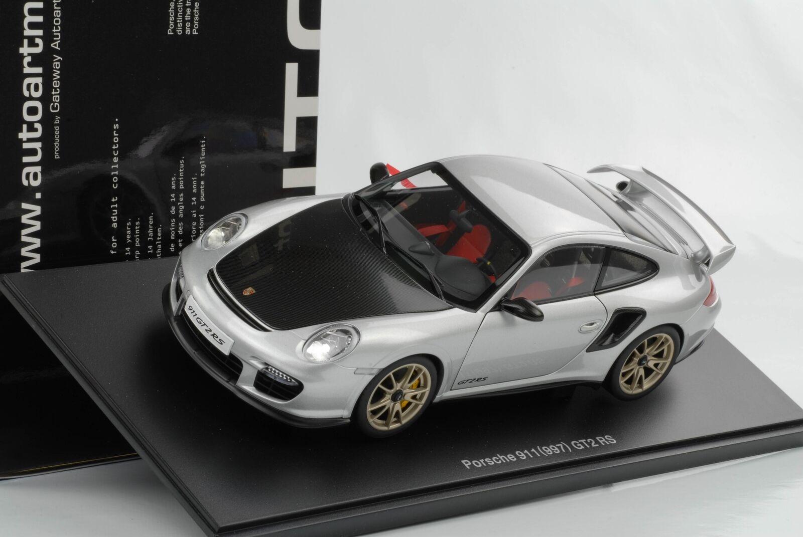 precioso Gt2 RS Porsche 911 997 2010 plata Cochebon DIECAST DIECAST DIECAST 1 18 Autoart OVP 77961  los nuevos estilos calientes