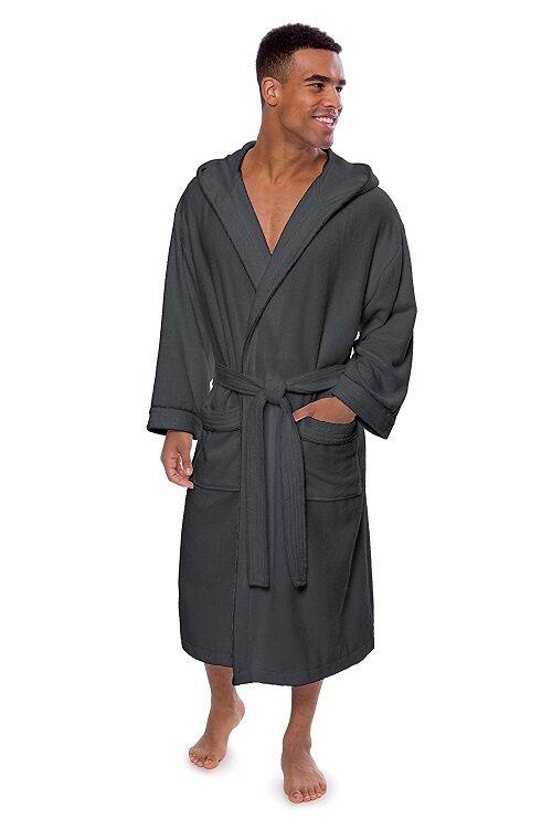 Men's Luxury Hooded Bathrobe 70% Bamboo 30% Cotton Eco Friendly Dark Shadow L XL