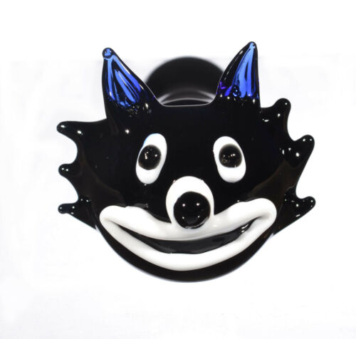 Black Tom Cat Animal Hand Pipe Glass Hand Pipe Spoon Pipe Bowl Pipe *USA*